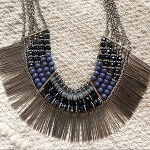 Park Lane Silver Fringe Beaded Cayman Necklace